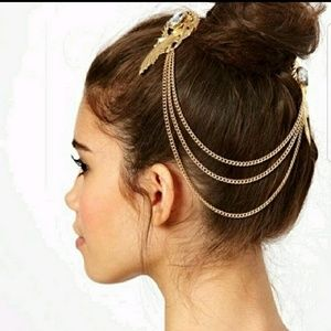 Accessories - Hair jewelry w/ 3 strand chains vintage inspired